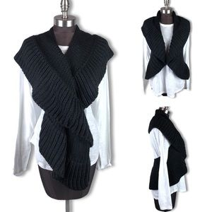 Accessories - Black Chunky Knit Infinity Scarf Sweater Vest